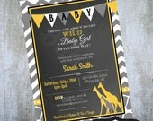Giraffe Baby Shower Invitation Printable invite by Luv Bug Design