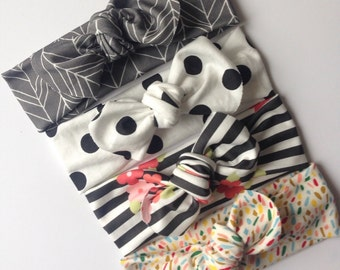 Organic baby knotted headband - set of four