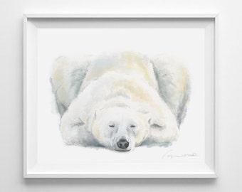 Polar Bear Art Print - Baby Bear  - Watercolor Painting - Polar Bear Nursery - Nursery Room Decor - Baby Room - Yoga Stretching