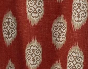 "Two  96"" x 50""  Custom   Curtain Panels - Ikat Damak Southwestern Medallion -  Brown/Khaki/Ivory/Persimmon Clay"