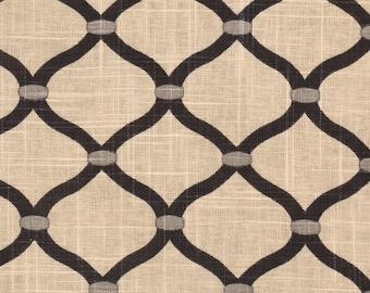 Two 20x20 Custom Pillow Covers -  Trellis Tile - Oatmeal Tan/Black