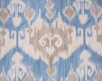 "Two 96"" x 50""  Custom Curtain Panels - Rod Pocket Panels Large Ikat - Blue Grey"
