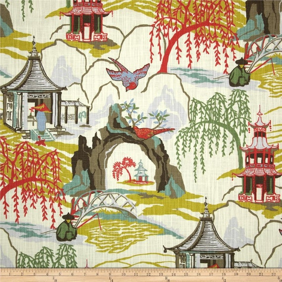 Two 96 X 50 Custom Lined Curtain Panels Chinoiserie Neo Toile