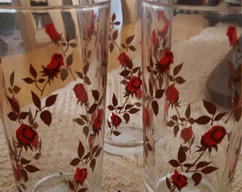 Set of Three Vintage Vitro Corp Tumblers with Climbing Red Roses on Brown Stems.