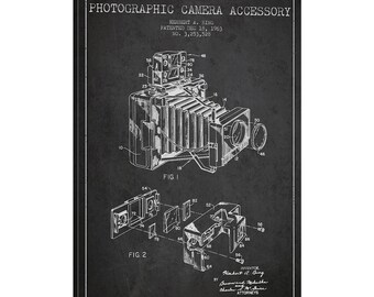 iCanvas Camera Charcoal Patent Blueprint Gallery Wrapped Canvas Art Print by Aged Pixel - ADP411-1PC3-12x8