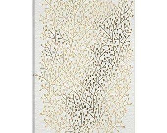 iCanvas Berry Branches Gold Artprint Gallery Wrapped Canvas Art Print by Cat Coquillette