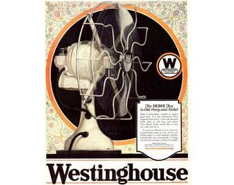 Instant Download Printable Art, Westinghouse Fan, Industrial Decor, Color Vintage Ad, Wall Art Decor, Digital Download Print