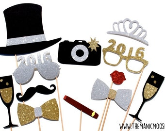 2016 New Years Eve Photo Booth Props - Silver and Gold - New Years Party Props - set of 12 - GLITTER photo props