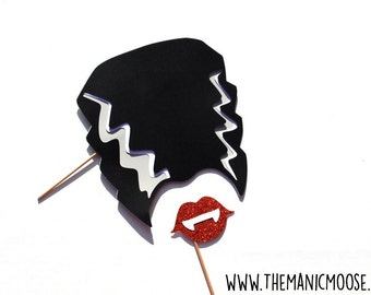 Halloween Photo Booth Props - Halloween Party Props - Bride of Frankenstein - Set of 2 Props