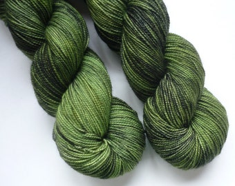 Hand Dyed Yarn - Merino / Cashmere / Nylon Sock Weight - Ausable Sock in Green Lantern Colorway