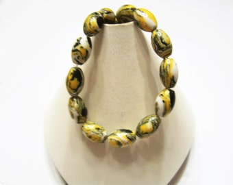 Black, Yellow, White, 12 mm X  8 mm Rice Shape, Howlite Beads 15.5 inch Strand, Oblong, Multicolor, Stone