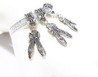 3 Ballet Slippers, Dangle Charms, Tibetan Silver, European Charm Beads,  Ballet Slipper Pendants, Large hole, Euro