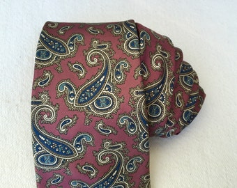Christian Dior necktie vintage dark mauve gold wedgwood blue silk woven in Italy