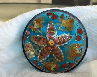 Jose Cire Royo bowl enamel gold gilt painted Moser Mudejar signed turquoise art glass dish bowl