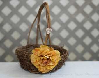 Large rustic flower girl basket Customize with flower and bride and groom initials