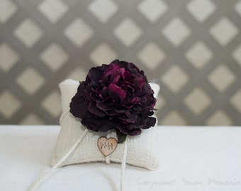 Plum Peony ring bearer pillow. Customize with flower and bride and groom initials