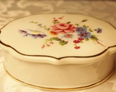 Porcelain Trinket Box With Pink and Blue Flowers Trimmed in Gold