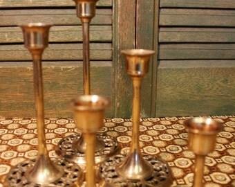 Graduated Brass Candlesticks / Solid Brass Candle Stick Holder Set