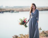 Maxi grey dress with wrap around front detail