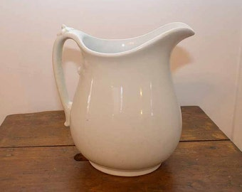 Antique White Royal English Ironstone Water Pitcher by Johnson Brothers, England