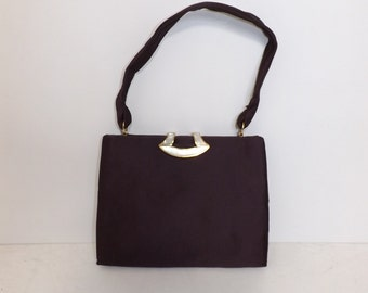 Vintage 50s 60s plum satin evening handbag bag with MOP mother of pearl detail