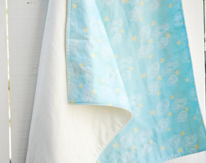 Organic Blanket - Aqua Cloud Doodle, Baby Blanket, Crib, Twin Sized Blanket, Twin Duvet, Twin Quilt, Illustrated Baby Blanket