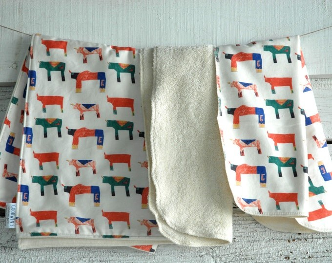 Organic Baby Gift Set, Includes Blanket & Two Burp Cloths - Rhino Stampede