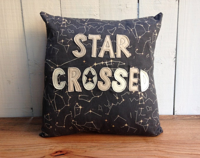 Organic Star Crossed Pillow Cover, Black Constellation Map, 18 x 18 Pillow