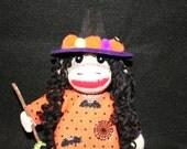 """8"""" Sock Monkey Witch, Witch Monkey, Halloween Sock Monkey Witch, Little Sock Witch, Little Monkey Witch, Monkey Witch Decoration"""