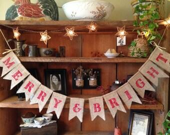 Burlap Christmas Bunting, Merry & Bright Bunting, Christmas Banner, Red Christmas Bunting, Holiday Banner, Rustic Christmas Banner