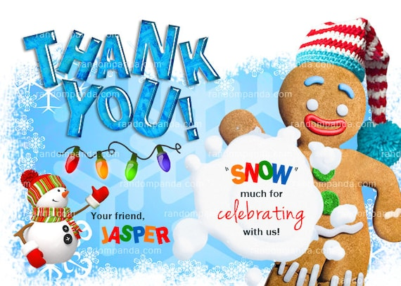 Winter Wonderland Thank You Card Gingerbread Man Thank You Note