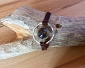 Brown and white agate Saturn leather bracelet