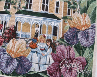 Glynda Turley Tapestry Pillow Panel Girls playing in garden / Tapestry picture panel / Children Garden tapestry pillow / Iris tapestry