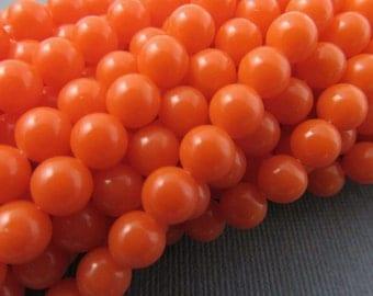 100 Vintage 6mm Orange Acrylic Beads Bd1026