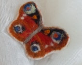 Spring sale, felted pin brooch, textile brooch, orange, brown, blue, needle felted brooch, butterfly, gift for her, mother's day gift idea