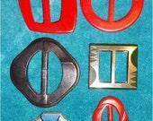 6 Vintage Buckles Bakelite Celluloid