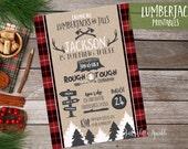 Lumberjack Birthday Invitation, Printable Lumberjack birthday invite, Camping invitation