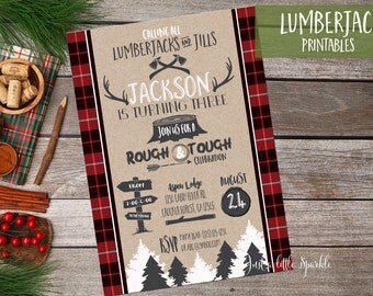 Lumberjack Birthday Invitation, Printable Lumberjack birthday invite, Camping invitation