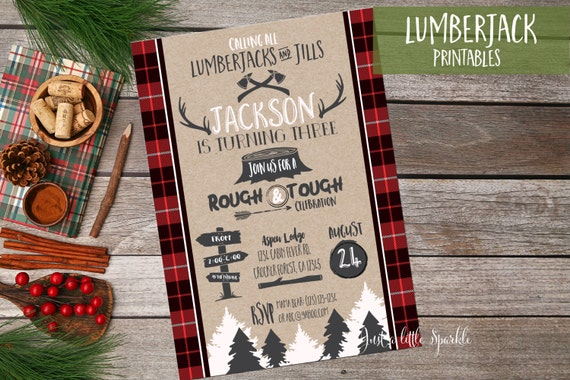 Lumberjack Birthday Invitation Printable Lumberjack birthday