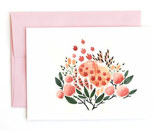 Floral No. 3 Greeting Card, Watercolor Flowers and Leaves Garden A6 Notecard