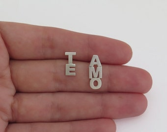 TE AMO earrings - Sterling Silver Studs - I Love You Earrings - Mismatched Earrings - Valentines Day Gift