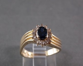 Natural Blue Sapphire and Diamond Halo Ring .88Ctw Yellow Gold 14K 4.8gm Size 6.25 Engagement Wedding