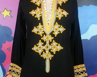 70s Embroidered Tunic Cotton Black Yellow Blue HIppie Boho Festival