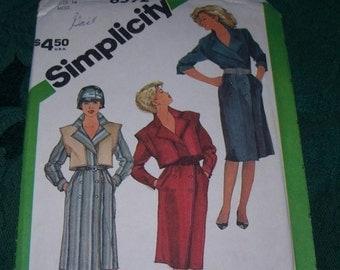 1980's Simplicity Vintage Dress Pattern, Simplicity Pattern 6592, Size 14 Dress Pattern, Vintage Sewing Supplies, Dress Pattern