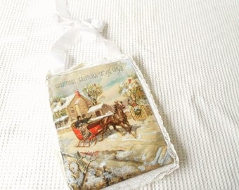 Christmas Vintage Decoration Dear Wife Christmas Padded Printed Fabric Panel