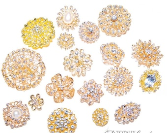 25pcs Gold Brooch Bouquet Supplies Mixed Pack, Wedding Broach Bouquet Brooches with Clear Stones and Pearls, 711-GP