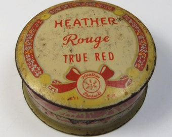 Vintage 1940's Heather Rouge True Red Whitehall Pharmacal Co. Empty Tin Vanity