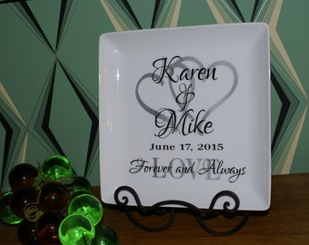 Personalized Wedding Plate Couple Name Date Custom - Perfect Gift Idea - Anniversary, Bridal Shower, Engagement, Housewarming