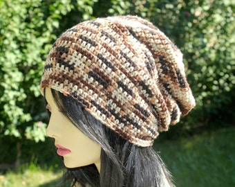 Brown Multi Crochet Slouchy Beanie Hat. Unisex. READY TO SHIP