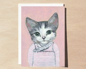 Elise - Greeting Card - Blank Inside - Cats In Clothes